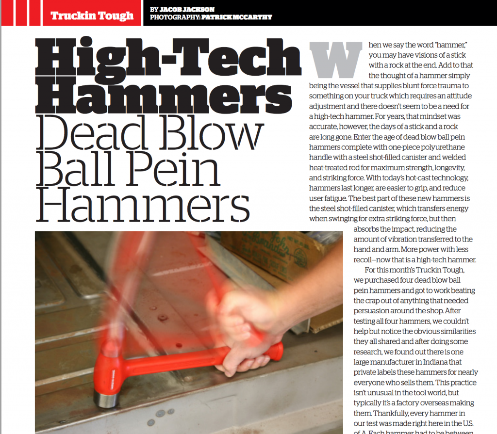 Truckin Tough Dead Blow Hammer Article