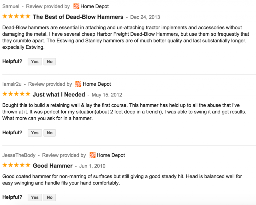 Home Depot Customer Reviews - Trusty-Cook